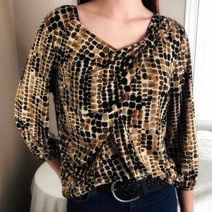 3 LEFT S-L Chic STRETCHY Leopard Animal Print Top